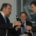 Frank Trautmann receives first prize from sponsor Paul Serkis of Brookfield (middle) and Chair of Judges John Allan of Avanti (left)