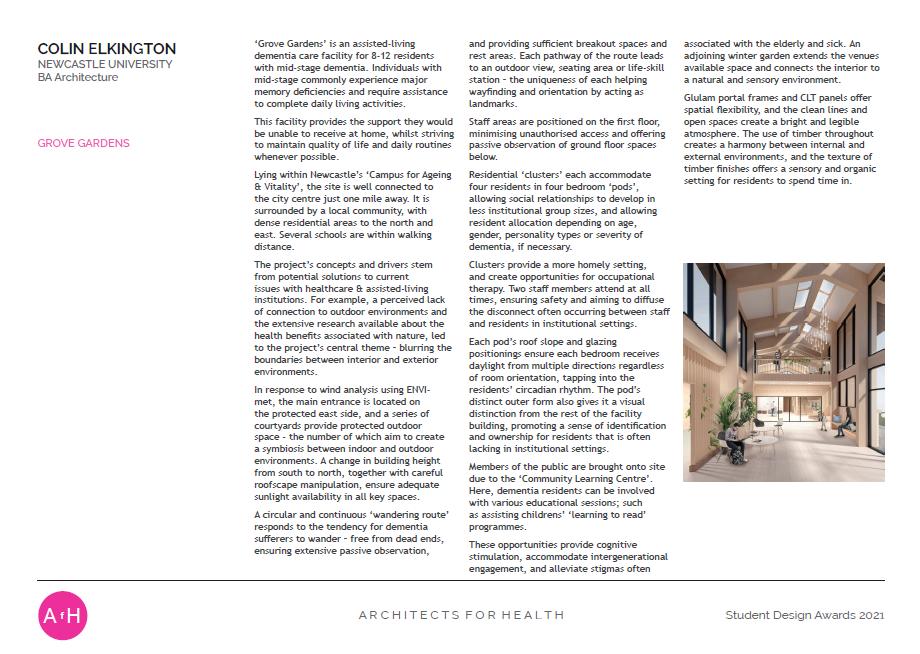 Colin Elkington  GROVE GARDENS Newcastle University Winner BA Architecture award