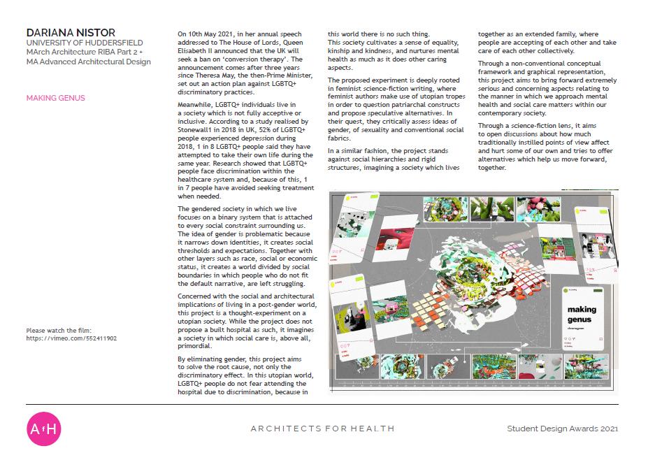 Dariana Nistor MAKING GENUS University of Huddersfield Winner Susan Francis Award for Art & Architecture