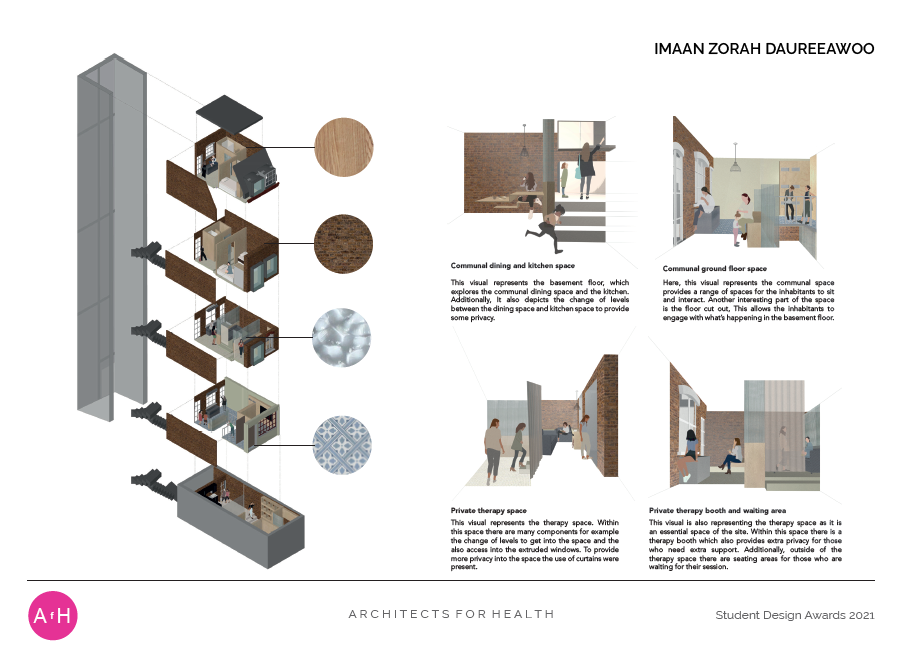 Imaan Zorah Daureeawoo THE WOMEN'S ABODE Middlesex University Highly commended BA Interior Architecture and Design award
