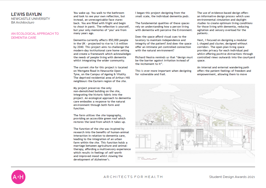 Lewis Baylin AN ECOLOGICAL APPROACH TO DEMENTIA CARE Newcastle University Highly commended BA Architecture award